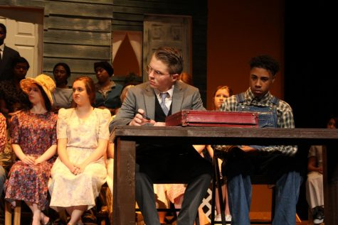 Mr. Finch and Tom Robinson during court scene.