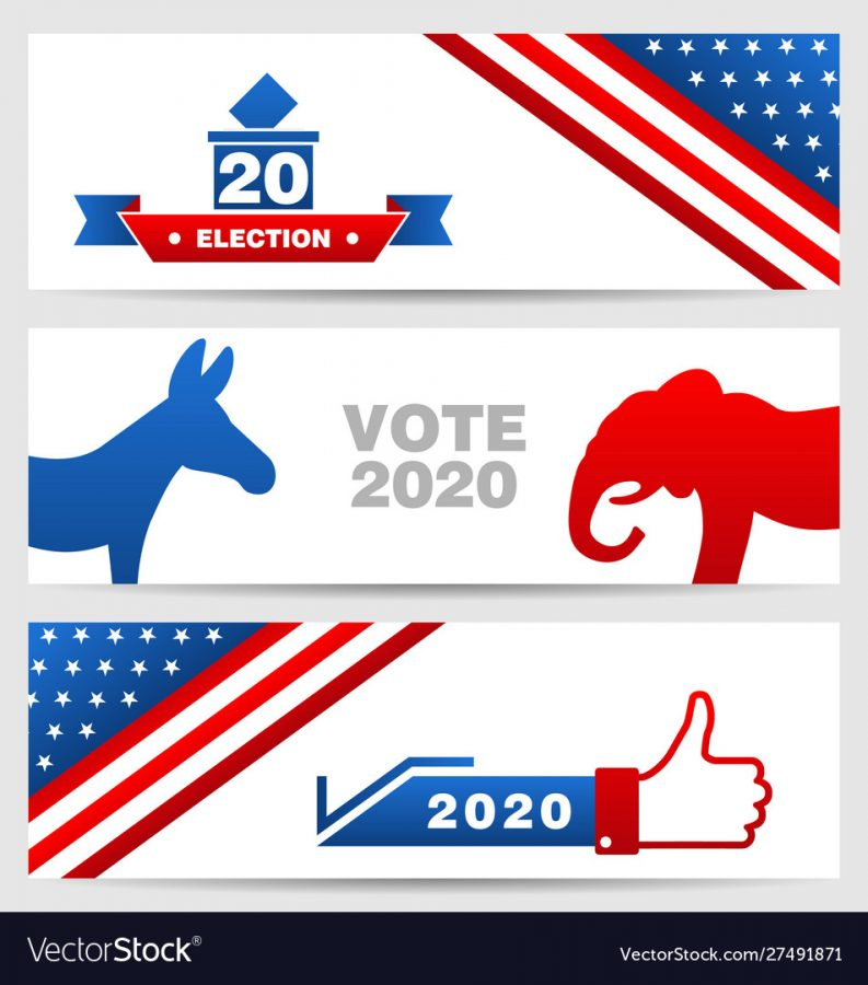 Presidential Election 0f USA 2020. Vote, Voting. Set American Advertising Cards - Illustration Vector