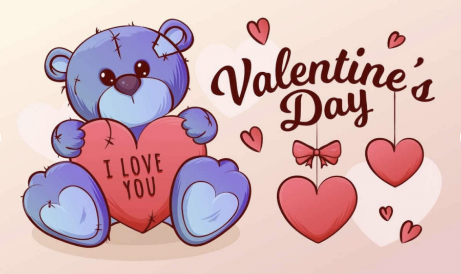 bear holding heart for Valentine's Day