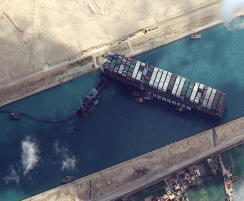 Ever Given container ship is pictured in Suez Canal in this Maxar Technologies satellite image taken on March 26, 2021. Maxar Technologies/Handout via REUTERS ATTENTION EDITORS - THIS IMAGE HAS BEEN SUPPLIED BY A THIRD PARTY. MANDATORY CREDIT. NO RESALES. NO ARCHIVES. DO NOT OBSCURE LOGO.â€(R)